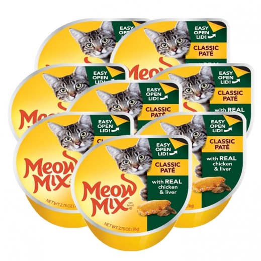 Meow Mix Classic Pate With Real Chicken & Liver 8x78 g