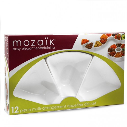 Mozaik Sabert Appetizer Dish Set White - 12 Pieces