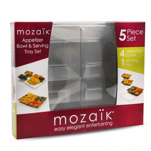 Mozaik Sabert Appetizer & Serving Tray Set Transparent - 5 Pieces