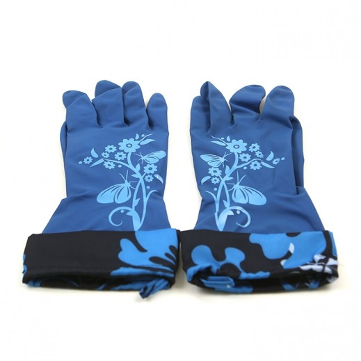 Duraglove Latex Gloves with Water Stop Cuff Blue - 2 Pairs