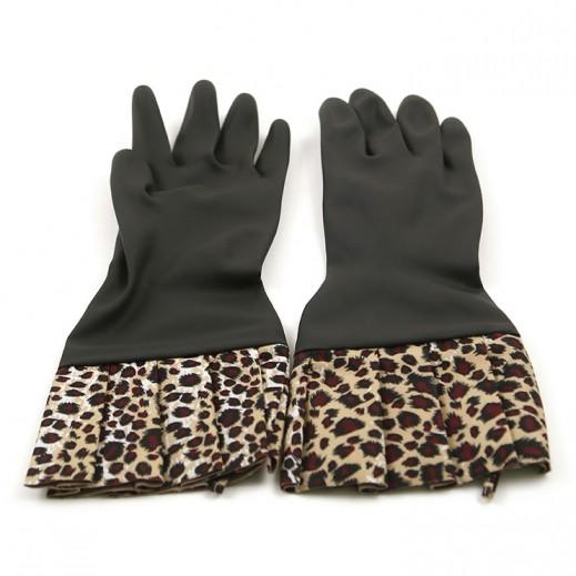 Duraglove Chic Black Latex Gloves with Leopad cuffs - 2 Pairs