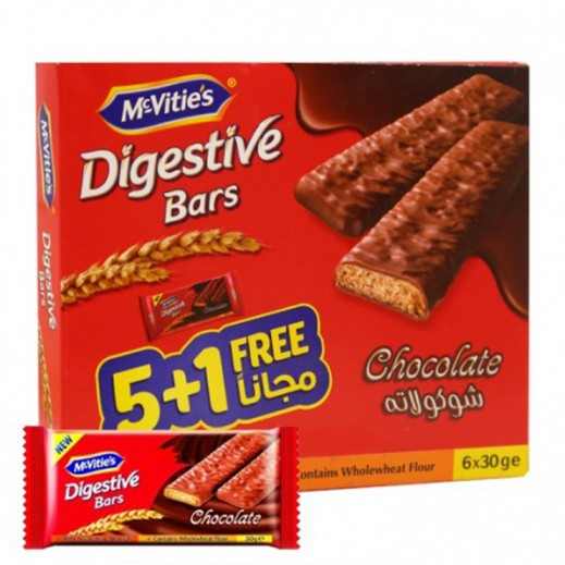 Mc Vities Digestive Chocolate Biscuits Bar 30 g (5+1 Free)