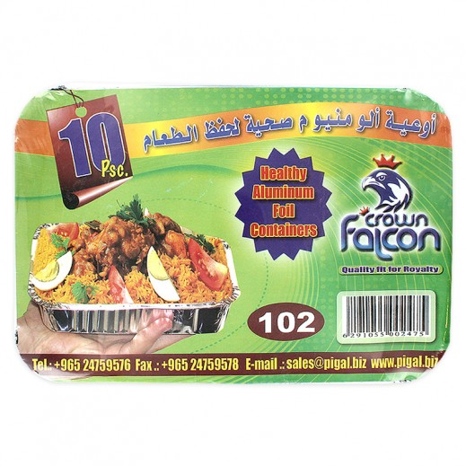 Falcon Crown Aluminum Foil Container (Medium-102) 10s