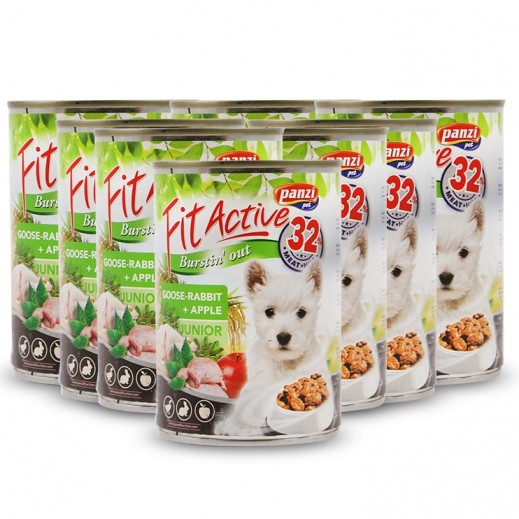 Panzi Fit Active Goose Rabbit + Apple For Junior Dog 415 g (8 Pieces)