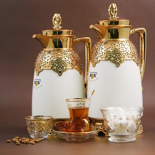 ASC Vacuum Flask Set White and Gold - 2 pieces