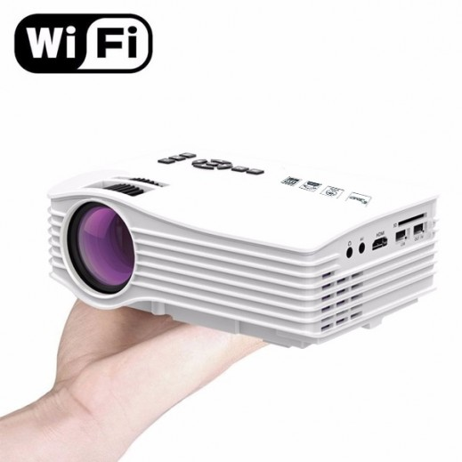 Portable Wi-Fi LED Cinema Theater Projector with HDMI & 2 USB Ports - White