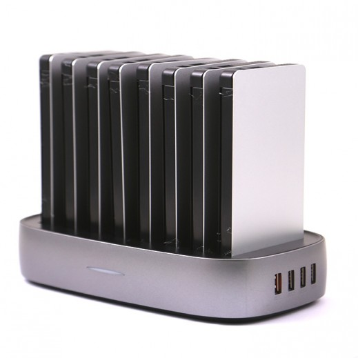 Charging Station with 8 Back up batteries 8,000 mAh - Silver