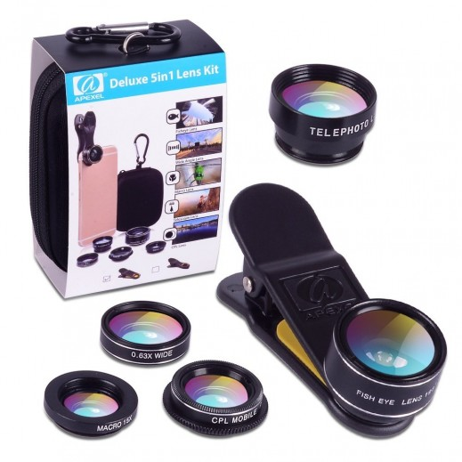Apexel 5-in-1 Universal Clip Photo Lens Kit