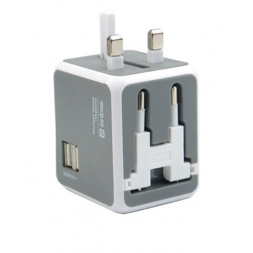 Exquis Universal Travel Adapter with 2 USB Ports - White