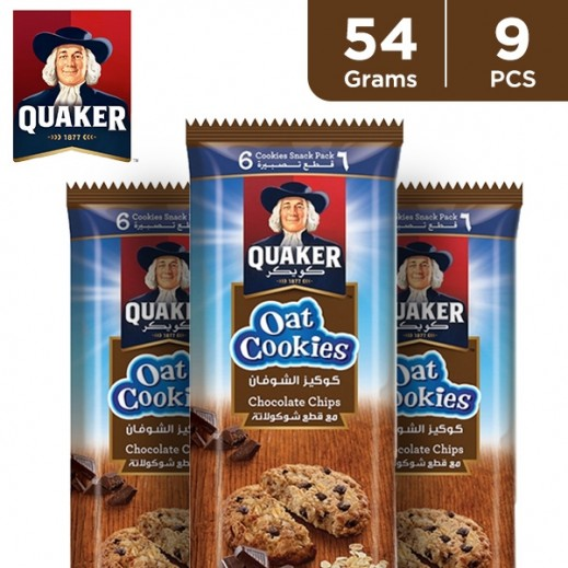 Quaker Chocolate Chip Oat Cookies 9 x 54 g