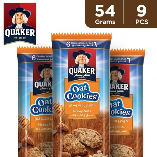 Quaker Honey & Nuts Oat Cookies 9 x 54 g