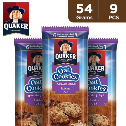Quaker Raisins Oat Cookies 9 x 54 g
