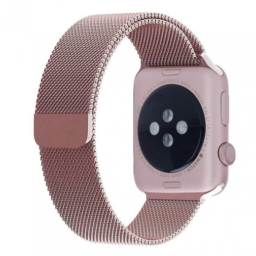 Stainless Steel Magnetic Wrist Strap for Apple Watch 42 mm - Rose Gold