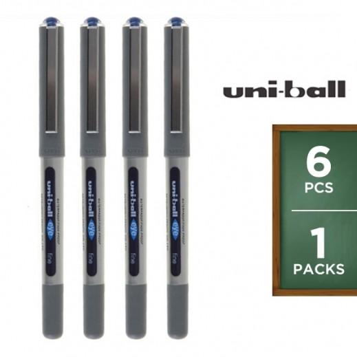 Value Pack - Uni-Ball Eye Fine Roller Pen - Blue (6 pieces)