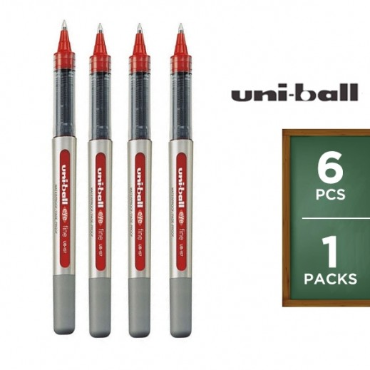 Value Pack - Uni-Ball Eye Fine Roller Pen - Red (6 pieces)