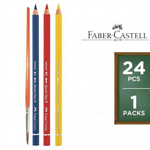 Faber Castell Water Color Pencils Flat Tin (Free Brush) 24 Pieces