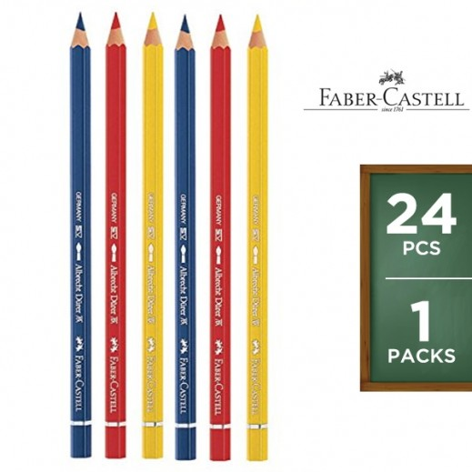 Faber Castell Colouring Pencils Flat Tin 24 Pieces
