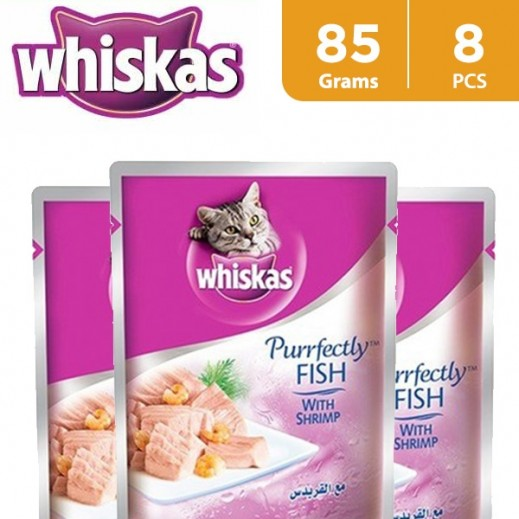 Whiskas Purrfectly Fish With Shrimp Wet Cat Food 8x85 g