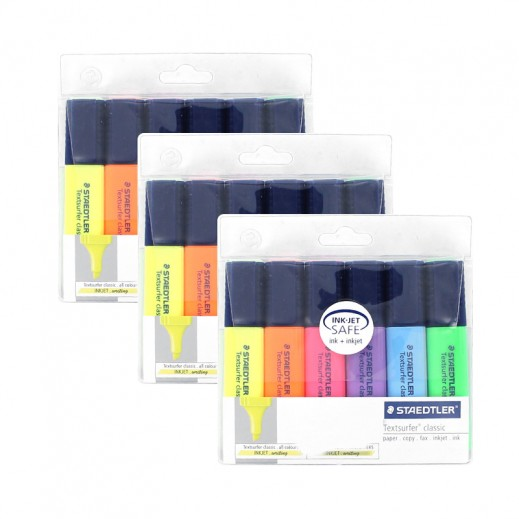 Value Pack - Staedtler Textsurfer Classic Highlighter 6 Color (3 pieces)