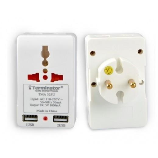 Terminator Adaptor with 2 USB Ports - White