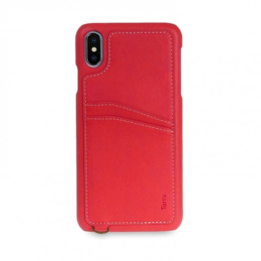 Koala Leather Case with Hand Strap for iPhone XS Max – Red
