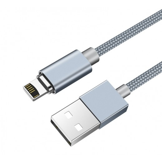 Hoco Mgnetic Lightning Cable 1 m - Gray - u40a