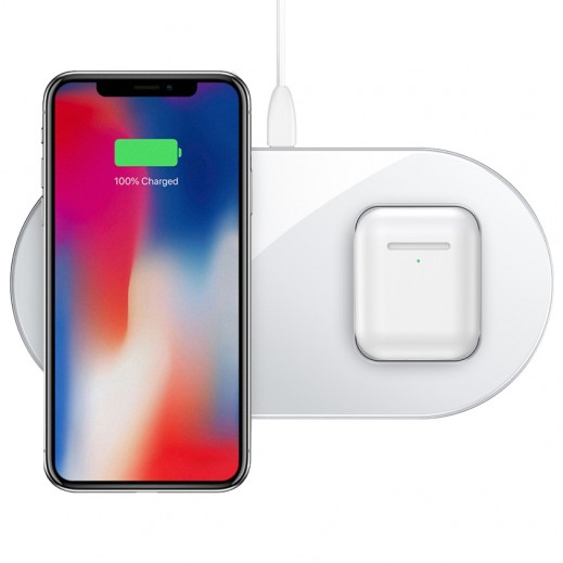 Baseus Dual Wireless Charger 15 W – White - delivered by Taw9eel Warehouse Next day
