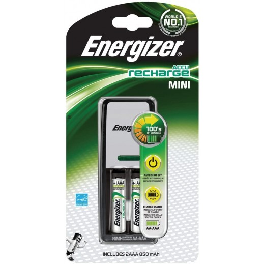 Energizer Mini Battery Charger With 2 AAA Batteries
