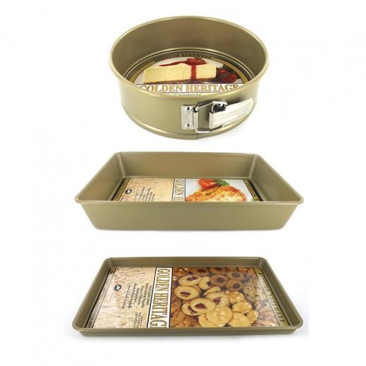 Golden Heritage Oblong Springform Cookie Non Stick 3 Pans Set