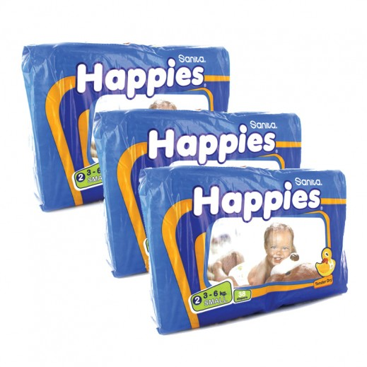 Value Pack -Happies Small Dry Diapers  (3 Packs x 38 pcs)