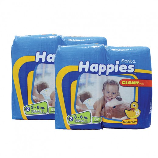 Value Pack -Happies Small Dry Diapers (2packs x 62pcs)
