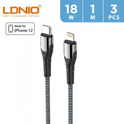 LDNIO 1m 18W  Lightning To Type-C to Cable (3 PCS) - Gray