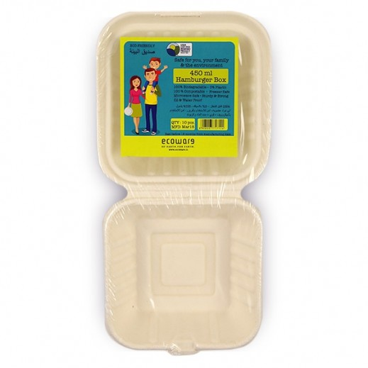 Ecoware Biodegradable Hamburger Box 450 ml - 10 Pieces