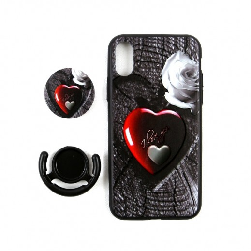 Boter 3 in 1 Fashion Case & Holder for iPhone XS / X – Red Heart & I Love you