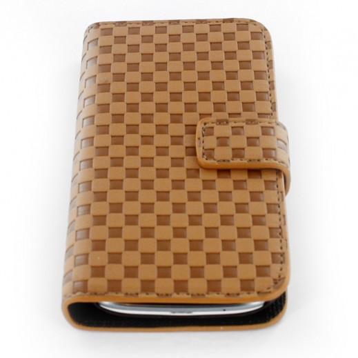 Fashion Case Flip Cover For Samsung Galaxy S III -Square Button -Brown