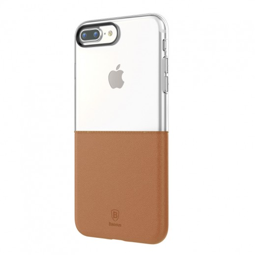 Baseus Half to Half Case for iPhone 7 – Transparent & Brown
