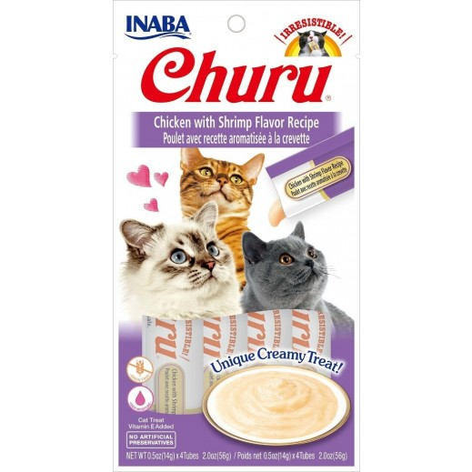 Inaba Churu Chicken With Shrimp Flavor Recipe Cat Treat With Added Vitamin 56 g