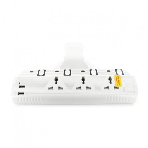 Beak Universal Wall Plug Socket 3 Way with 2 USB Ports 3000 W - White