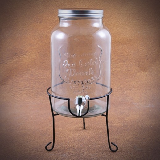 Glass Beverage Dispensor with Stand - 6 L