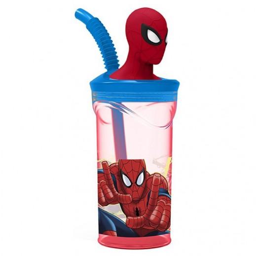 Spiderman 3D Figurine Bottle with Straw 360 ml