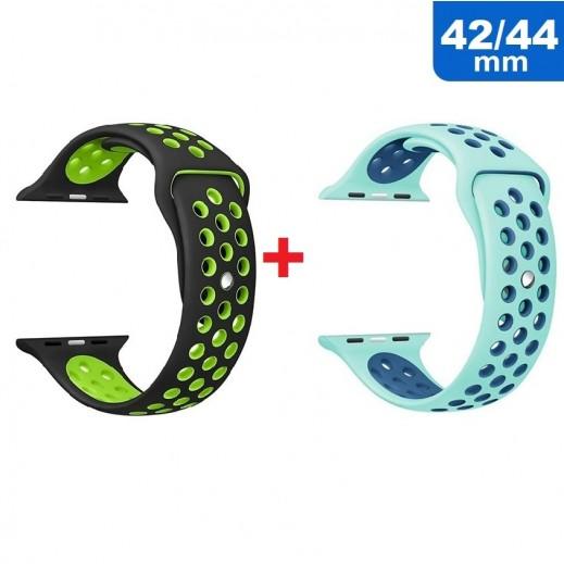 Sport Wrist Strap for Apple Watch 42 /44 mm (1 + 1) Light Green & Blue + Black & Green