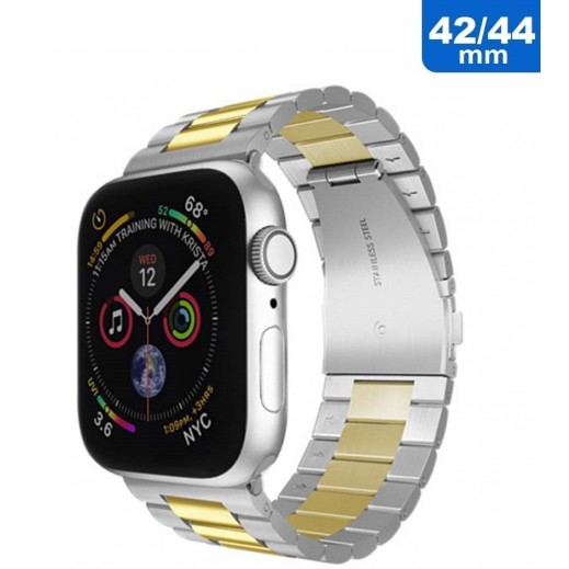 Steel Band for Apple Watch 42/44 mm – Silver & Gold