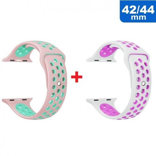 Sport Wrist Strap for Apple Watch 42 / 44 mm (1 + 1) Rose & Green + White & Purple