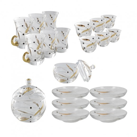Istikana & Cawa 25 pieces Golden Flower Lining Cup Set