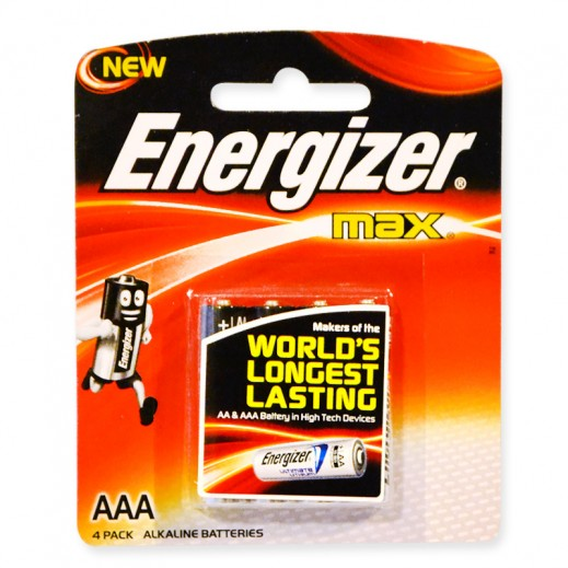 Energizer Max Alkaline AAA Battery 4 Pack