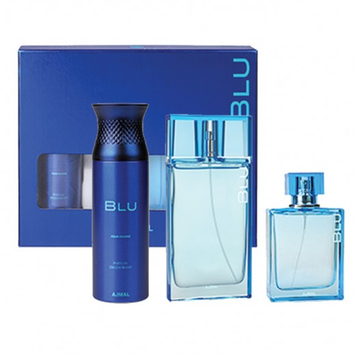 Ajmal Blu Gift Set For Him EDP 90ml + EDC 90 ml + Deodorant 200ml