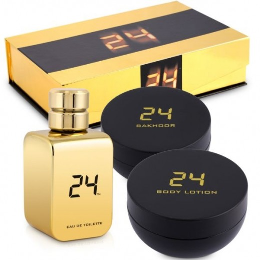 24 Gold Gift Set For Unisex EDT 100 ml + Body Lotion 100 ml + Bakhour 35 g