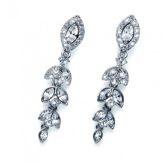 Oliver Weber Silver Villa Crystal Earrings