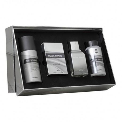 Ajmal Silver Shade Gift Set Unisex EDP 100ml + Powder 100gms + Deodorant 150ml + Body Bar 150gms