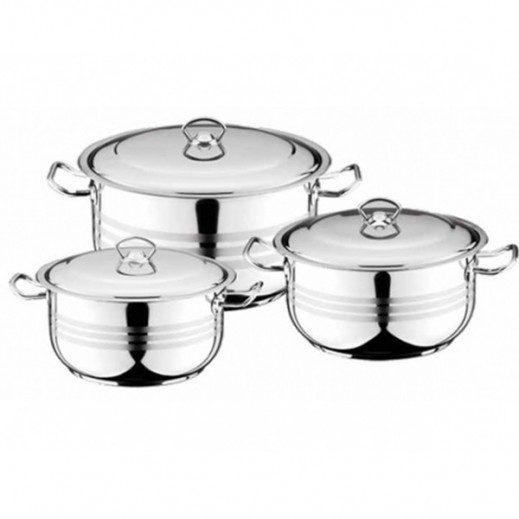 Berlin Cooking Set With Glass Lid 3 Pieces Set (Asiret)